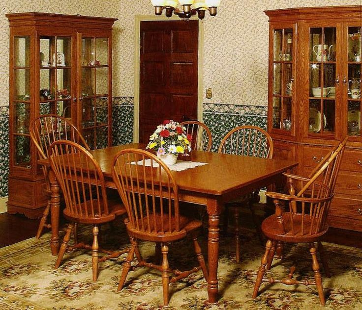 Early American Dining Room Furniture: Amish Early American Classic Windsor Dining Room Chair
