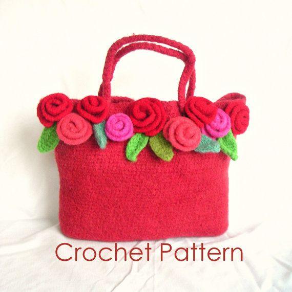 Crochet Flower Bag Pattern : Crochet Rose Bag Pattern Tutorial pdf, Felted Flower Bag Crochet Patt ...