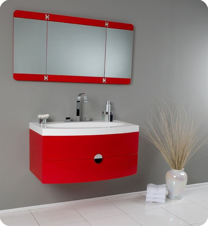 "Fresca Energia Red Modern Bathroom Vanity with Three Panel Folding Mirror, This vanity http://www.listvanities.com/fresca-bathroom-vanities.html can fit anywhere. At 36"" Fresca Energia Red Modern Bathroom Vanity with Three Panel Folding Mirror, this vanity is ideal for adding some brightness or funk to your bathroom with its bright red color. Ingenious basin design is brought together with a large, tri-hinged mirror- a great addition to catch those hard-to-see spots for that perfect shave or.."