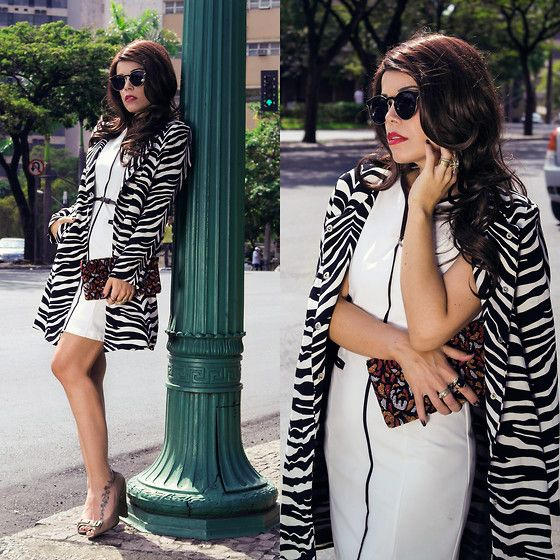 White Dress, Zebra Coat,