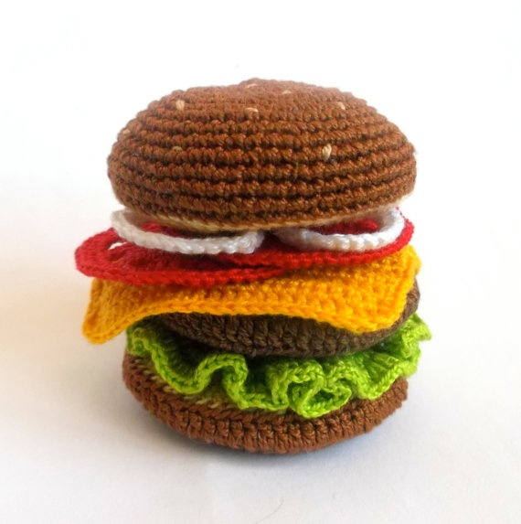 Amigurumi Fast Food : Hamburger Play Food Toy Amigurumi Fast Food Crochet ...