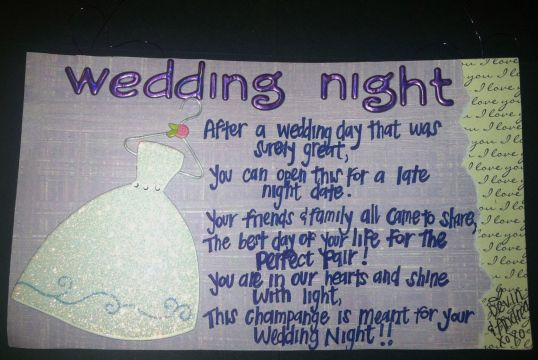 Gift Ideas For Bride Night Before Wedding : Wedding Night Poem for Wine Basket Back Wedding Stuff Pinterest