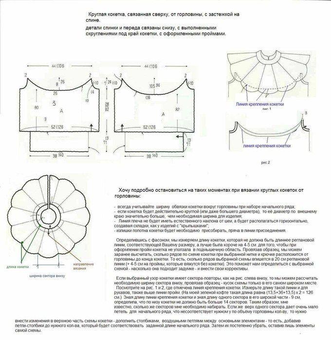 Вязание спицы круглые кокетки сверху с ростком на спинке 18