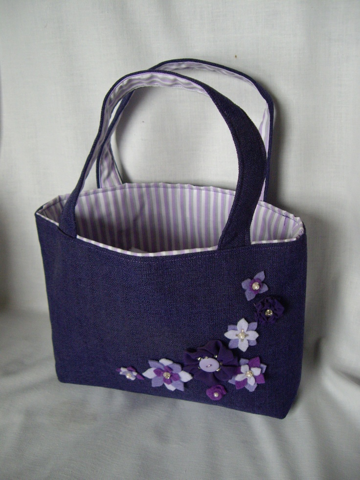 Purple Bag Floral Detail. Hand crafted at Little Irish House. Find on ...