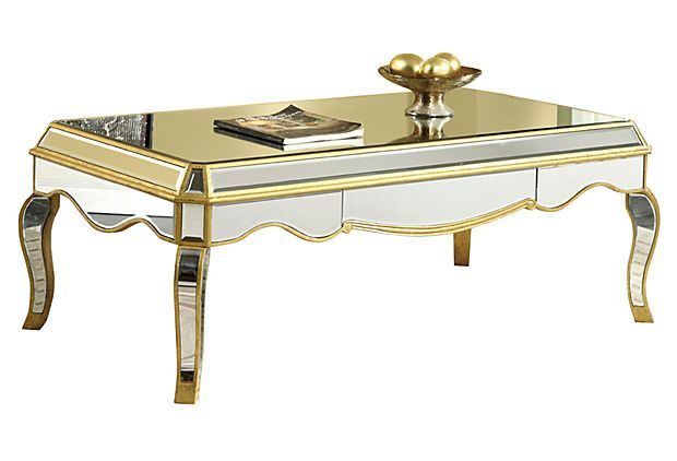 adeline mirrored coffee table gold