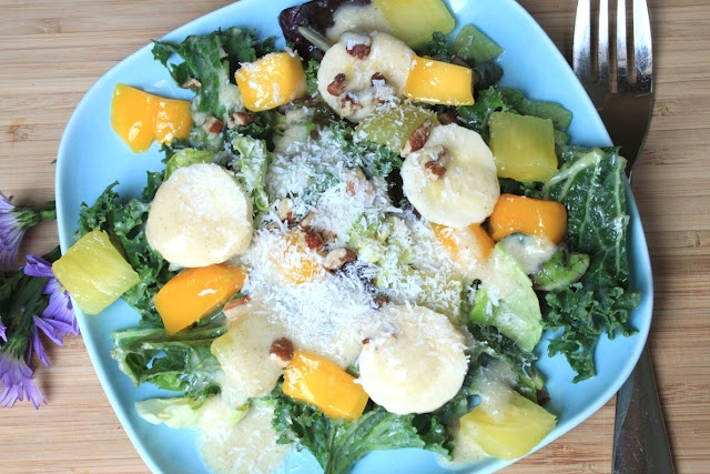 Tropical Kale Salad with Creamy Pineapple Coconut Dressing