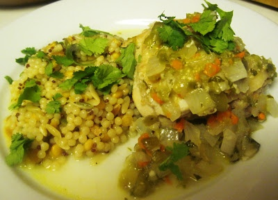 FISCAL CLIFFHANGER Braised Chicken Thighs with Tomatillo Salsa Makes ...
