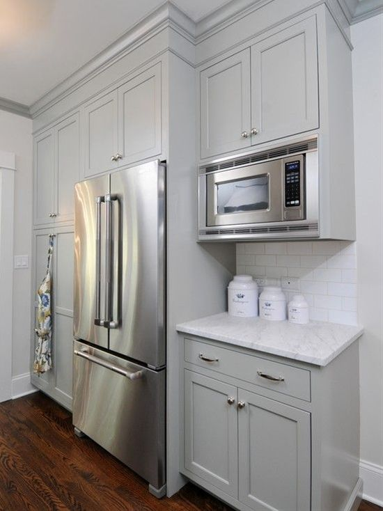 Gray green kitchen cabinets home sweet home pinterest for Grey and green kitchen