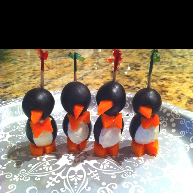 Penguin Appetizers- olives, cream cheese, carrots