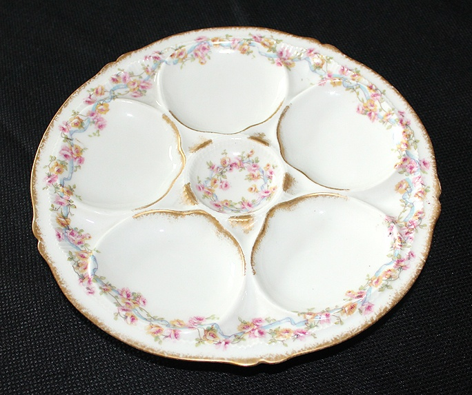 Antique Limoges Haviland 5 Well Oyster Plate w/Transfer Floral Pattern | eBay