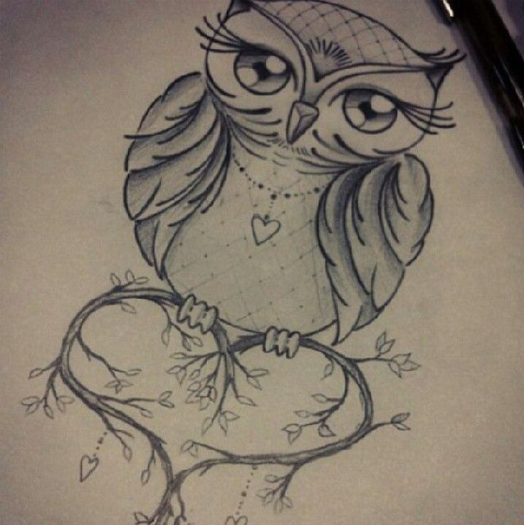 Owl heart tree awesome tattoos pinterest for Cute tree drawing