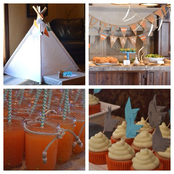 tribal indian theme baby shower teepee beaded rope drinks and more