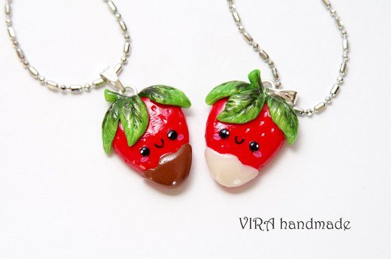 Kawaii Strawberries in Chocolate Best Friends Necklaces - Made to ord ...: pinterest.com/pin/524528687821324422