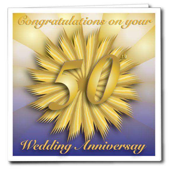 Th wedding anniversary card gold blank inside