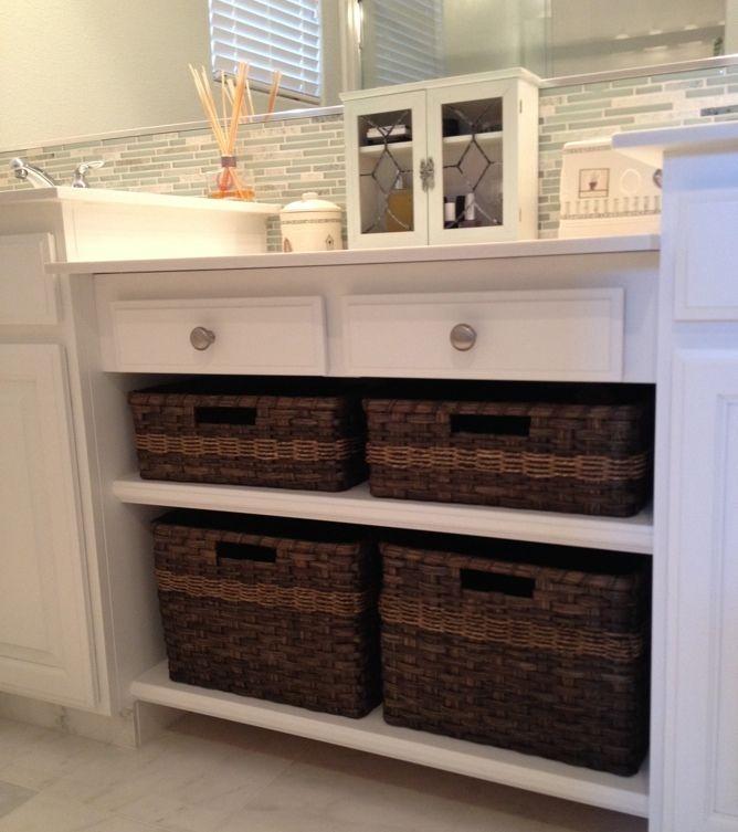 Popular Wood Storage Unit W3 4 Wicker Baskets BedroomBathroom Organizer