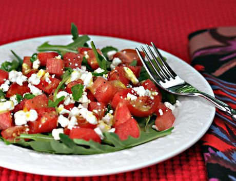 Watermelon, feta and arugula salad with orange vinaigrette recipe {The ...