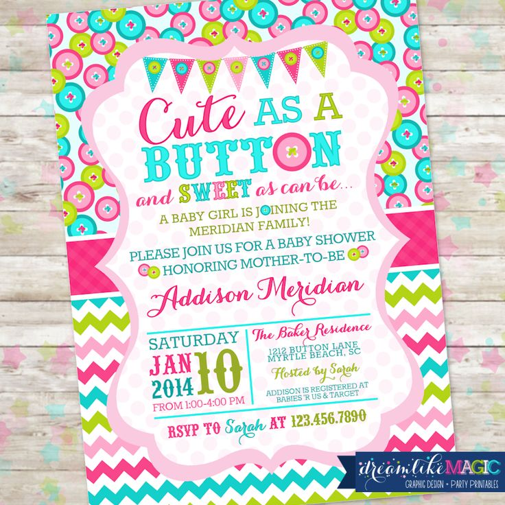 baby shower invitation cute as a button baby brower 3 pinterest