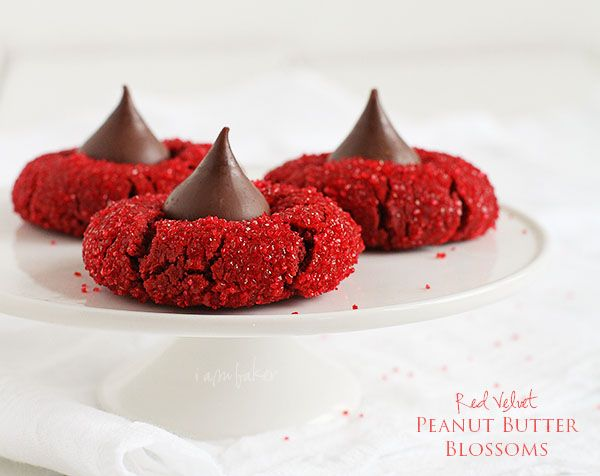 Red Velvet Peanut Butter Blossoms..pss Laurie I wonder if these could be made without peanut butter?