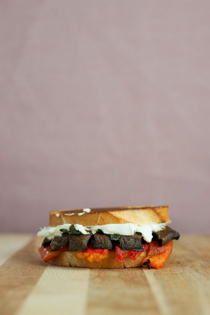 Roasted Red Pepper, Portobello & Goat Cheese Grilled Cheese | Recipe