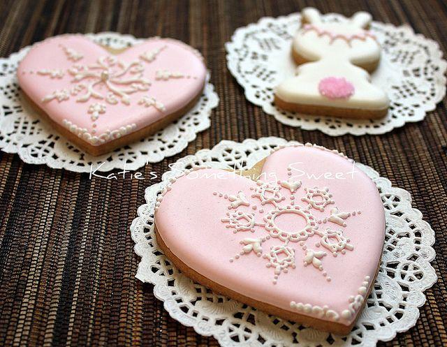 Pink Lace Heart Cookies by Katie's Something Sweet, via Flickr