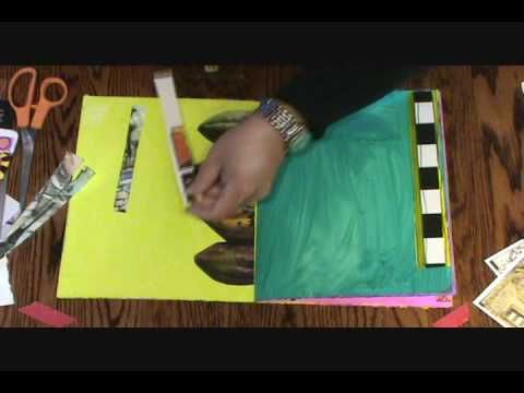 Teesha Moore Journaling Collage Tutorial - Several videos showing background painting, collage, pen work and lettering.