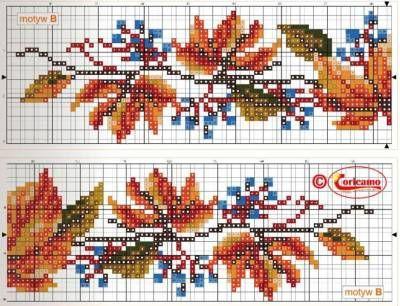 Схемы вышивки крестиком листья