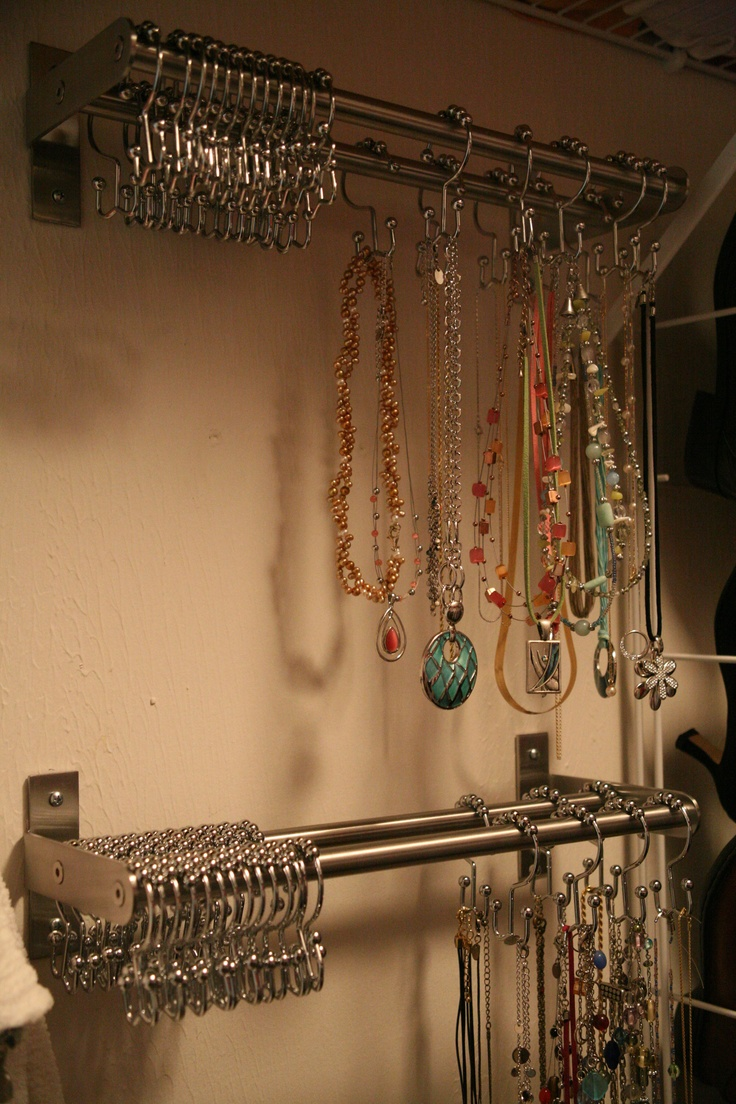 towel bars + double S-hook shower curtain rings = amazing, inexpensive ...