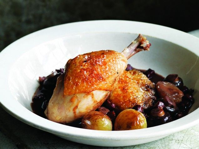 Braised Chicken Legs, Onion & Bacon | Mmmmm..Good Eats! | Pinterest