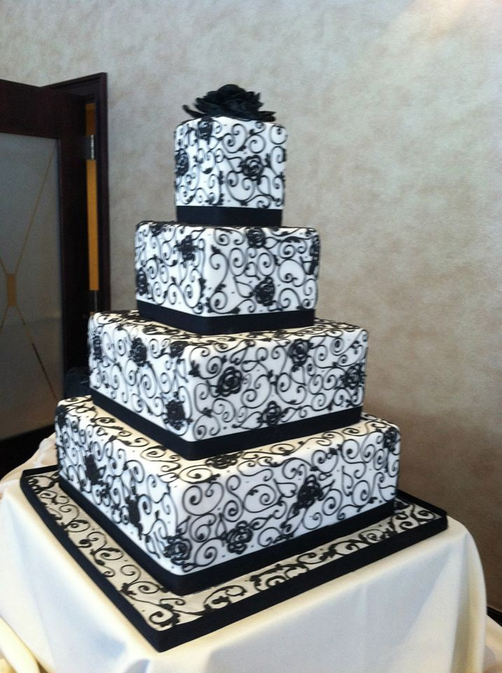 Black & white square cake.   Wedding Cakes   Pinterest