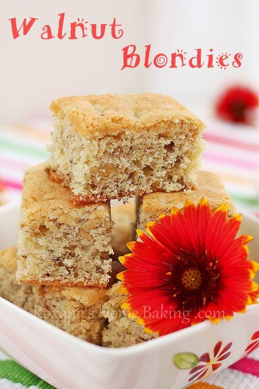 Walnut Blondies   Tummy Treats :)   Pinterest