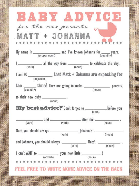 pics photos baby shower mad libs new baby