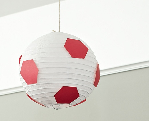 DIY Craft: Soccer Ball Hanging Paper Lantern. Sports party