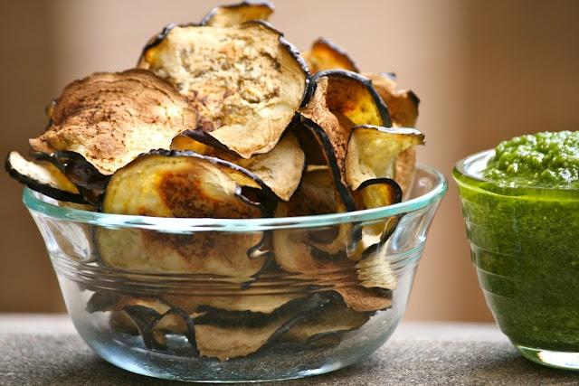 eggplant chips with cilantro pesto! | Favorite Recipes | Pinterest