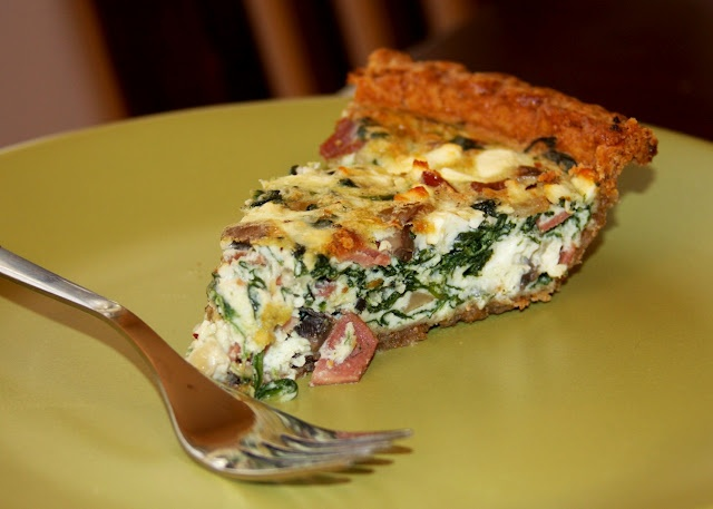 Spinach, Mushroom, Turkey Bacon & Feta Quiche ~ I made this the other ...