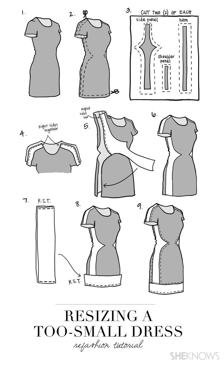 Как расширить платье в грудной