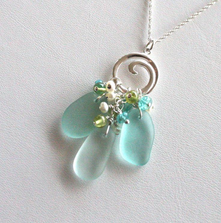 sea glass jewelry aqua sea foam green wave toggle necklace