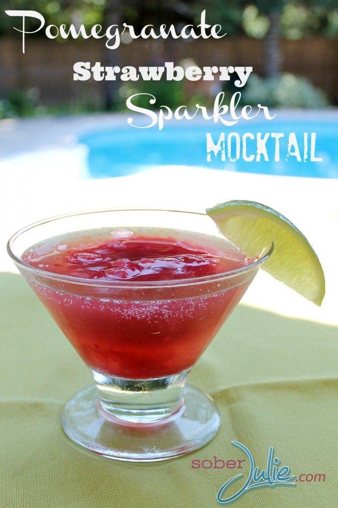 Pomegranate Sparkler Mocktail. Pomegranate Juice, Strawberries, Ice ...