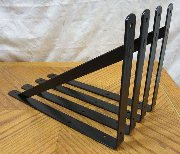 lot 4 black extra heavy duty steel 14 5 x 10 shelf. Black Bedroom Furniture Sets. Home Design Ideas