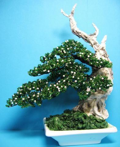 Beaded 3d flower und trees