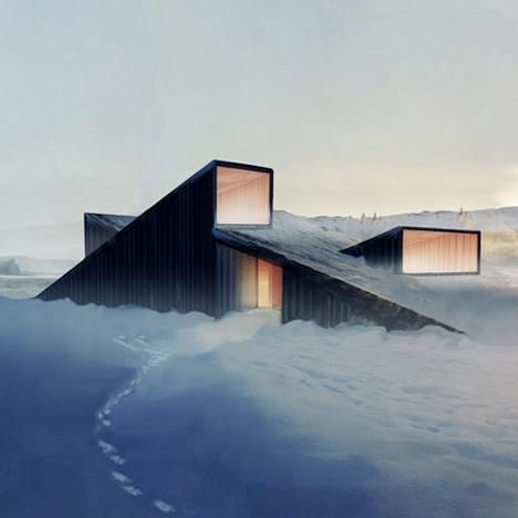 "Norwegian architects of ""Fantastic Norway"" work on this ""Mountain Hill Cabin"" which is supposed to be erected in the mountain landscape of Sjoga (Norway) during summer 2013. It's not only beautiful; you can also ski over its sloping roof!"