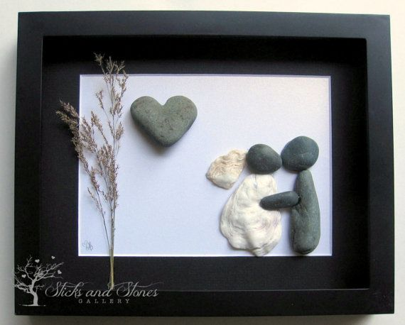 Personalized Pebble Art Wedding Gift Custom by SticksnStone, USD50.00