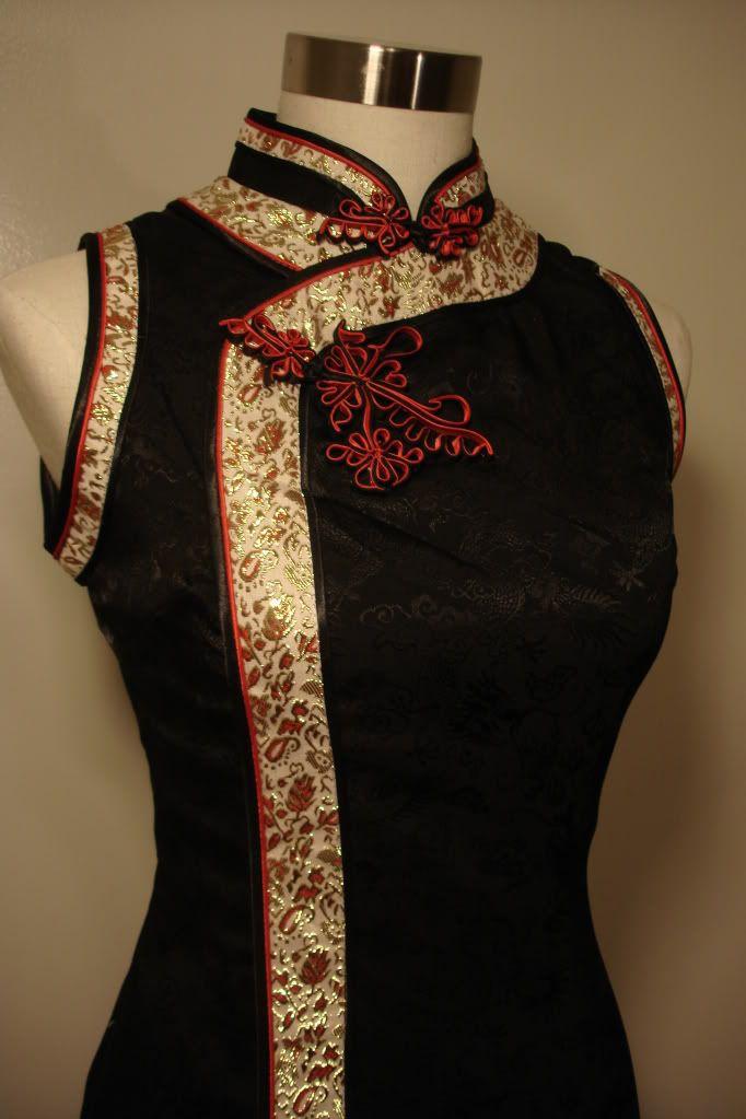 NEW Black Chinese Cheongsam Dress Qi Pao Dragon Texture