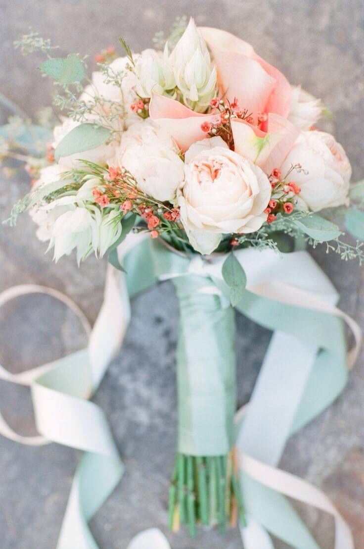 mint bridesmaids bouquets, but peach instead of pink (and more mint)