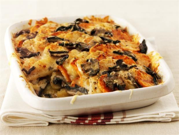 Creamy Two Potato and Mushroom Gratin | Recipes | Pinterest