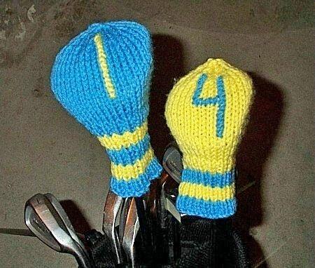 Free Knitting Pattern - Golf Club Covers
