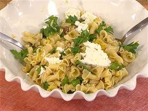 Make a fresh campanelle with walnuts, ricotta, and lemon