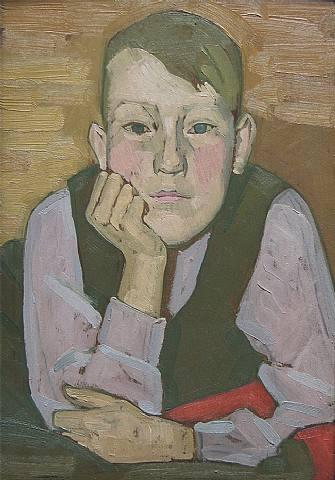 Portrait of a boy by Henry Lamb