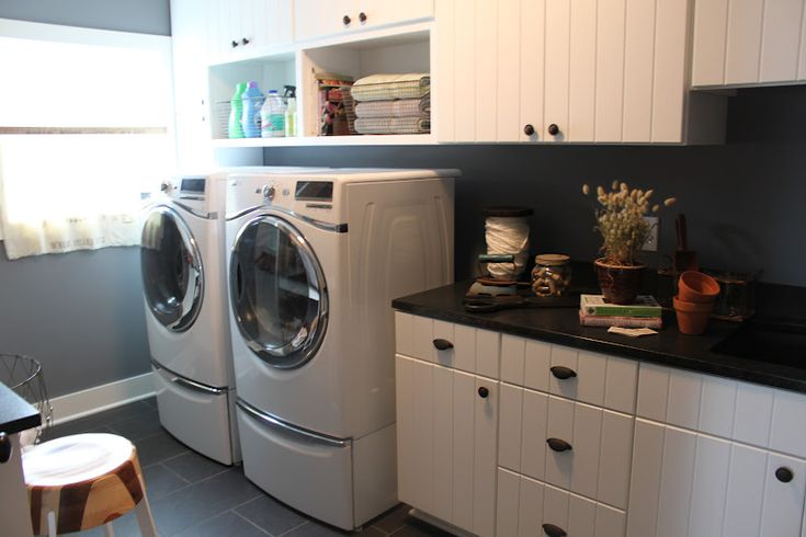 Open shelving above washer dryer laundry room love for Open shelving laundry room