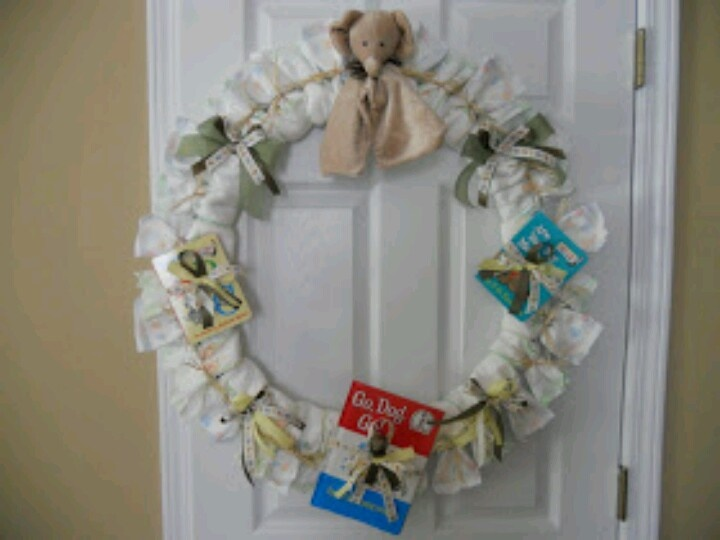 cute diaper wreath for a baby shower christmas pinterest