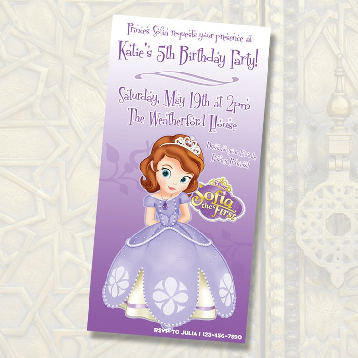 Disney Princess Sofia Birthday Invitations Digital File Images Of Princess Sofia Printable